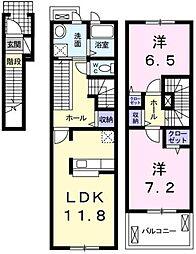 愛知県みよし市三好町油田の賃貸アパートの間取り
