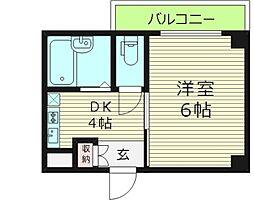 ドミールあさひ 5階1DKの間取り