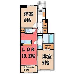 JR水戸線 下館駅 徒歩17分の賃貸アパート 1階2LDKの間取り