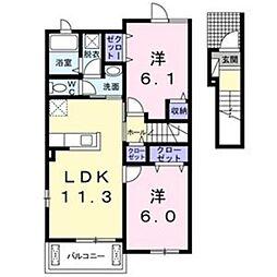 大阪府堺市南区稲葉1丁の賃貸アパートの間取り