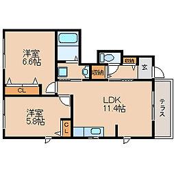 滋賀県長浜市勝町の賃貸アパートの間取り