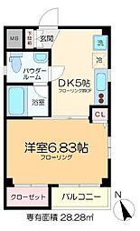 京成本線 堀切菖蒲園駅 徒歩3分の賃貸マンション 4階1DKの間取り