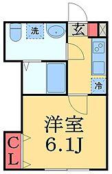 JR京葉線 蘇我駅 徒歩14分の賃貸アパート 1階1Kの間取り