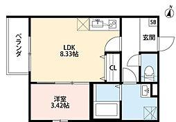 Sハウス北野田 3階1LDKの間取り
