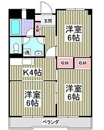 埼玉県東松山市松葉町1丁目の賃貸マンションの間取り