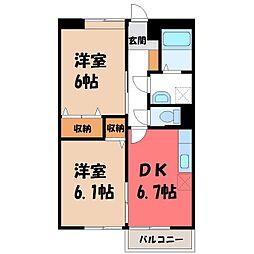 栃木県下野市小金井4丁目の賃貸アパートの間取り