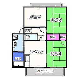 ガーデン・ハイム 2階3DKの間取り