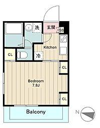 JR南武線 矢野口駅 徒歩9分の賃貸マンション 3階1Kの間取り