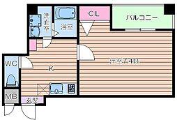 JR大阪環状線 寺田町駅 徒歩5分の賃貸マンション 1階1Kの間取り