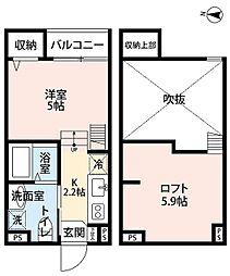 南海高野線 萩原天神駅 徒歩4分の賃貸アパート 2階1Kの間取り