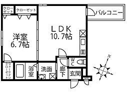 泉北高速鉄道 深井駅 徒歩2分の賃貸アパート 2階1LDKの間取り
