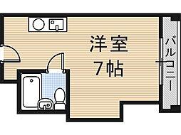 大阪府大阪市東住吉区矢田2丁目の賃貸マンションの間取り