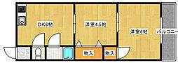 柴田コーポ 仲介手数料10800円 専用消毒も不要[302号室]の間取り