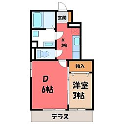 栃木県小山市若木町1丁目の賃貸アパートの間取り