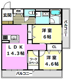 阪急京都本線 南茨木駅 徒歩23分の賃貸マンション 3階2LDKの間取り