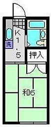 神奈川県横浜市磯子区森が丘1丁目の賃貸アパートの間取り