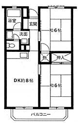 グリーンコーポ金田11号棟[1階]の間取り