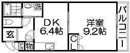 大阪府寝屋川市池田3丁目の賃貸アパートの間取り