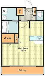 ロフティー 4階ワンルームの間取り
