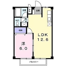 愛知県豊田市花園町井田の賃貸アパートの間取り