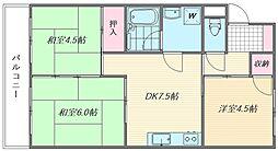 エメラルドマンションリバーサイド貝塚[1階]の間取り