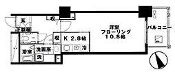 代官山アドレス ザ・タワー 6階1Kの間取り