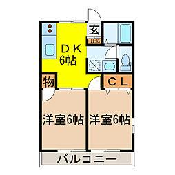 ニューウイング新開A[105号室]の間取り