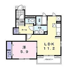 ラ・クラルテ[1階]の間取り