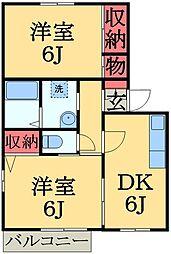 千葉県市原市五井西3丁目の賃貸アパートの間取り