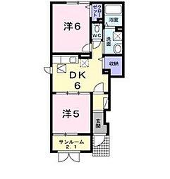 新潟県新発田市緑町2丁目の賃貸アパートの間取り