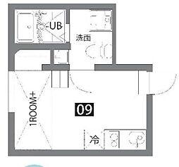 カラスヤマテラスEW 2階ワンルームの間取り