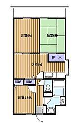 神奈川県横浜市港南区港南6丁目の賃貸マンションの間取り