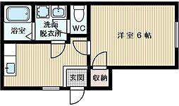 ワンルーム・テル[2階]の間取り