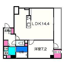 ココパーチェ新金岡 1階1LDKの間取り