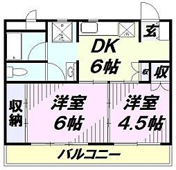 埼玉県所沢市緑町1丁目の賃貸マンションの間取り