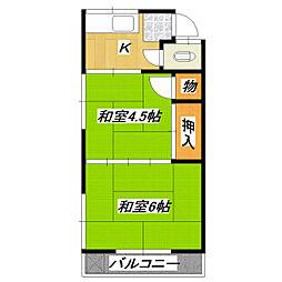 岩井荘[202号室]の間取り