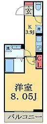 JR総武線 幕張駅 徒歩4分の賃貸マンション 3階1Kの間取り