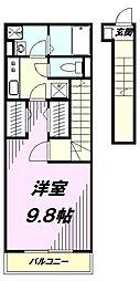 JR八高線 小宮駅 徒歩6分の賃貸アパート 2階1Kの間取り