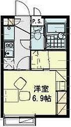 JR武蔵野線 東所沢駅 バス18分 坂之下下車 徒歩4分の賃貸アパート 2階1Kの間取り