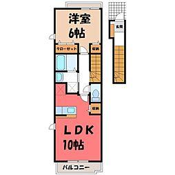 栃木県真岡市田町の賃貸アパートの間取り