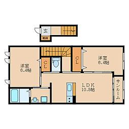 滋賀県守山市小島町の賃貸アパートの間取り