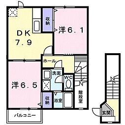 愛知県豊橋市大岩町字黒下の賃貸アパートの間取り