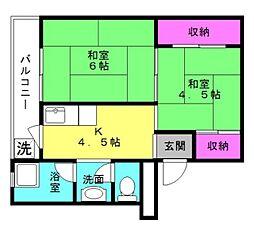 ビレッジハウス十王堂[3-206号室]の間取り
