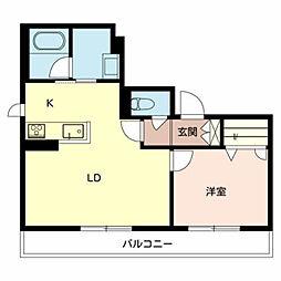 南海高野線 北野田駅 徒歩9分の賃貸マンション 3階1LDKの間取り