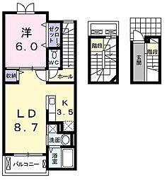東京都青梅市新町5丁目の賃貸アパートの間取り