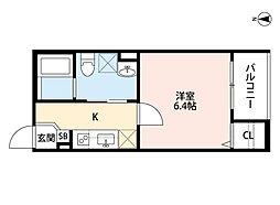 近鉄南大阪線 針中野駅 徒歩10分の賃貸アパート 1階1Kの間取り