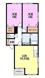 新潟県燕市日之出町の賃貸アパートの間取り