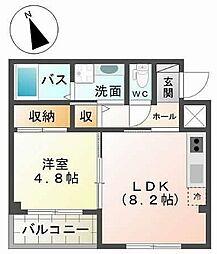 南海高野線 三国ヶ丘駅 徒歩7分の賃貸マンション 2階1LDKの間取り