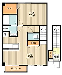 JR南武線 矢川駅 徒歩9分の賃貸アパート 2階1LDKの間取り