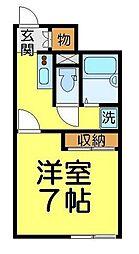 東武東上線 東武霞ヶ関駅 徒歩14分の賃貸アパート 1階1Kの間取り